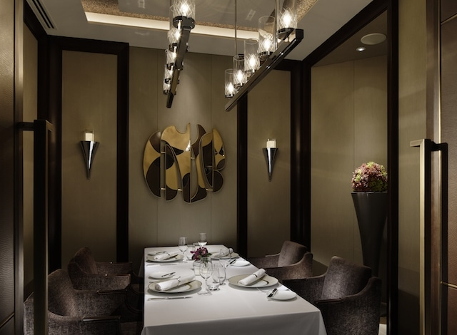 Private dining room at Crown Restaurant at the Palace Hotel, exquisite fine dining Tokyo